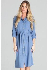 Figl - Koszulowa sukienka szmizjerka z podpinanym rękawem 3/4 niebieska. Okazja: na uczelnię, do pracy, na imprezę. Kolor: niebieski. Typ sukienki: szmizjerki, koszulowe