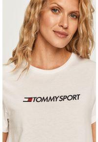 Biała bluzka Tommy Sport na co dzień, z nadrukiem
