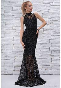 Czarna sukienka IVET elegancka, z aplikacjami, maxi, z krótkim rękawem