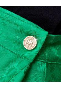 Pinko - PINKO - Zielona spódnica z falbaną Scettico 1. Kolor: zielony. Materiał: tkanina. Wzór: geometria. Sezon: lato