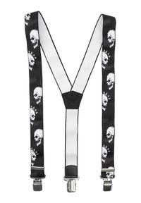 Modini - Ciemne szelki do spodni - czaszki, punk SZ123. Materiał: skóra, guma