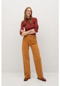 Pomarańczowy sweter mango z długim rękawem, długi