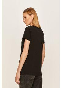 Czarna bluzka Levi's® na spotkanie biznesowe, casualowa, z okrągłym kołnierzem, z nadrukiem