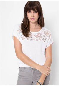 Biała bluzka bonprix w kwiaty