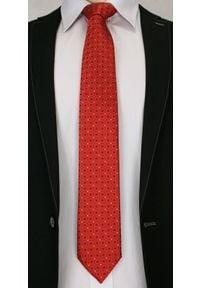 Jaskrawy, Męski Krawat w Oryginalny Wzór- Chattier - 6,7 cm - Pomarańczowy. Kolor: pomarańczowy. Materiał: tkanina. Wzór: geometria. Styl: wizytowy, elegancki