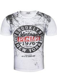 Biały t-shirt z nadrukiem Recea klasyczny