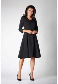 Czarna sukienka wizytowa Nommo wizytowa, ze stójką
