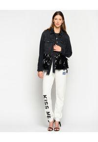 Pinko - PINKO - Jeansowa kurtka z cekinami Star. Kolor: czarny. Materiał: jeans. Długość rękawa: długi rękaw. Długość: długie. Wzór: aplikacja. Styl: klasyczny
