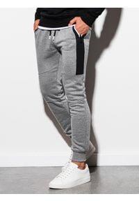 Ombre Clothing - Spodnie męskie dresowe joggery P903 - szary melanż - XXL. Kolor: szary. Materiał: dresówka. Wzór: melanż