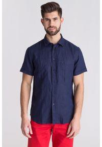 Niebieska koszula Trussardi Jeans na spotkanie biznesowe, na lato