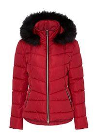 Cellbes Kobieca kurtka z luksusowymi i złotymi detalami czerwony female czerwony 34/36. Kolor: czerwony. Materiał: futro. Długość rękawa: długi rękaw. Długość: długie
