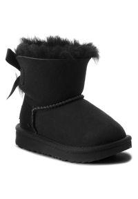 Czarne buty zimowe Ugg z cholewką, z aplikacjami