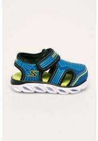 Niebieskie sandały skechers na rzepy, z okrągłym noskiem
