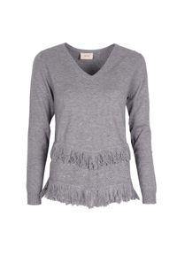 Sweter Toy G z długim rękawem, z aplikacjami, z dekoltem w kształcie v, długi #1