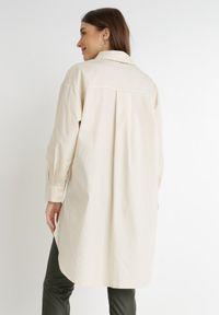 Born2be - Jasnobeżowa Koszula Alcenia. Kolor: beżowy. Materiał: jeans, skóra. Długość: długie