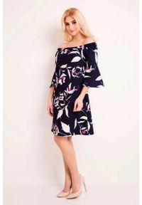 Lou-Lou - Granatowa Sukienka Wzorzysta w Hiszpańskim Stylu. Kolor: niebieski. Materiał: poliester, elastan. Wzór: kwiaty