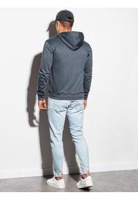 Ombre Clothing - Bluza męska rozpinana z kapturem B977 - szara - XXL. Typ kołnierza: kaptur. Kolor: szary. Materiał: poliester, bawełna. Styl: klasyczny #3