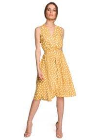 MOE - Rozkloszowana Sukienka w Grochy bez Rękawów - Żółta. Kolor: żółty. Materiał: wiskoza. Długość rękawa: bez rękawów. Wzór: grochy
