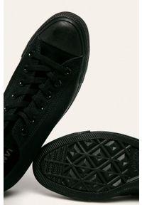 Czarne niskie trampki Converse z okrągłym noskiem, na sznurówki, z cholewką