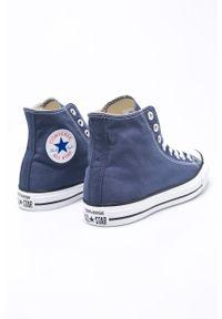 Niebieskie wysokie trampki Converse na sznurówki, z cholewką, z okrągłym noskiem