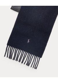 Ralph Lauren - RALPH LAUREN - Dwustronny szalik z wełny. Kolor: szary. Materiał: wełna. Wzór: haft, aplikacja. Styl: elegancki