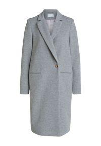 Szary wełniany płaszcz Oui. Kolor: szary. Materiał: wełna