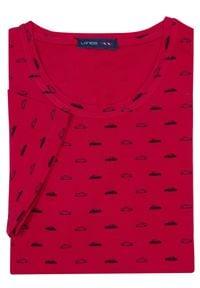 Lanieri Fashion - Męska czerwona koszulka T-shirt w samochody KTS1. Kolor: czerwony. Materiał: bawełna, materiał