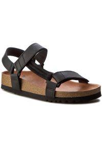 Czarne sandały Scholl na rzepy, w paski