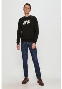 Czarna bluza nierozpinana Karl Lagerfeld na co dzień, z nadrukiem, bez kaptura, klasyczna