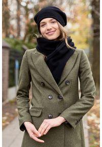 Marie Zélie - Płaszcz wełniany Debora ciemnozielony. Kolor: zielony. Materiał: wełna. Wzór: motyw zwierzęcy, ze splotem. Sezon: zima. Styl: klasyczny #8