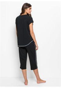 Piżama ze spodniami 3/4 bonprix czarno-biały