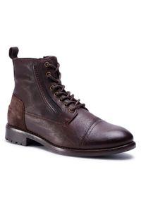 Brązowe buty zimowe QUAZI eleganckie, z cholewką