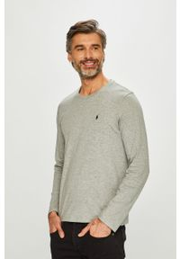 Szara koszulka z długim rękawem Polo Ralph Lauren casualowa, na co dzień, z okrągłym kołnierzem