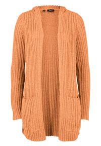 Sweter bez zapięcia z kapturem bonprix Sweter bez zap z kapt m.mel. Typ kołnierza: kaptur. Kolor: pomarańczowy. Długość: długie