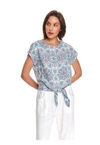 TOP SECRET - Bluzka we wzory z wiązaniem w talii. Kolor: biały. Materiał: tkanina. Długość rękawa: krótki rękaw. Długość: krótkie. Sezon: lato