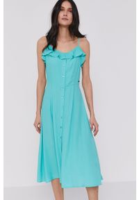 Turkusowa sukienka Pepe Jeans na ramiączkach, prosta, casualowa, gładkie