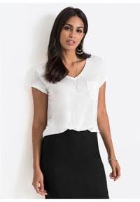 Shirt z kieszenią bonprix Shirt biały. Typ kołnierza: dekolt w serek. Kolor: biały. Długość rękawa: krótki rękaw. Długość: krótkie