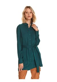 TOP SECRET - Długa koszula z wiązaniem. Okazja: na co dzień. Kolor: zielony. Materiał: dzianina. Długość rękawa: długi rękaw. Długość: długie. Sezon: zima. Styl: elegancki, casual