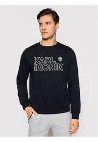 Karl Lagerfeld - KARL LAGERFELD Bluza Crewneck Ikonik 705029 511900 Granatowy Regular Fit. Typ kołnierza: dekolt w karo. Kolor: niebieski