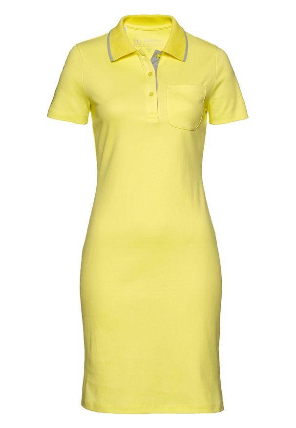 Sukienka shirtowa polo bonprix jasny oliwkowy - srebrnoszary. Typ kołnierza: polo. Kolor: żółty. Styl: elegancki