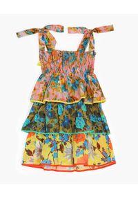 ZIMMERMANN KIDS - Wzorzysta sukienka z falbanami Estelle. Kolor: niebieski. Długość rękawa: na ramiączkach. Wzór: kwiaty, nadruk