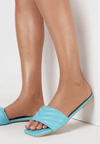 Born2be - Niebieskie Klapki Nephosise. Nosek buta: otwarty. Kolor: niebieski. Wzór: jednolity. Sezon: lato. Obcas: na obcasie. Wysokość obcasa: niski