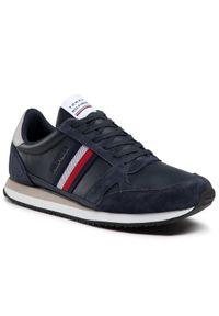 TOMMY HILFIGER - Tommy Hilfiger Sneakersy Runner Lo Leather Stripes FM0FM03430 Granatowy. Kolor: niebieski