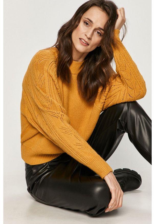 Żółty sweter Answear Lab wakacyjny, długi, z długim rękawem