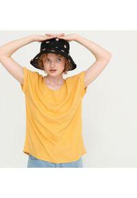 House - Wiskozowa bluzka basic - Żółty. Kolor: żółty. Materiał: wiskoza