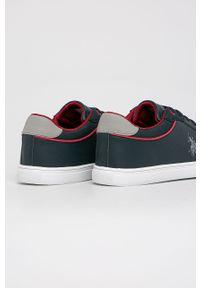 Niebieskie sneakersy U.S. Polo Assn z okrągłym noskiem, na sznurówki, na obcasie
