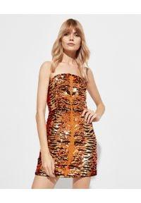 RETROFETE - Sukienka we wzór tygrysa Aurora. Okazja: na imprezę. Kolor: czarny. Materiał: materiał. Wzór: aplikacja. Typ sukienki: kopertowe. Styl: wizytowy. Długość: mini
