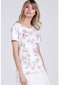 Biały t-shirt Monnari z dekoltem na plecach, casualowy, w kwiaty