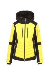Descente - Kurtka narciarska DESCENTE CICILY. Kolor: żółty. Materiał: lycra, materiał, futro, puch, tkanina. Technologia: Thinsulate. Sport: narciarstwo
