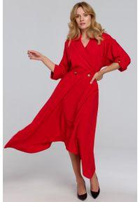 e-margeritka - Sukienka rozkloszowana midi elegancka czerwona - s. Kolor: czerwony. Materiał: tkanina, poliester, materiał, elastan. Wzór: gładki. Typ sukienki: asymetryczne, kopertowe, rozkloszowane. Styl: elegancki. Długość: midi